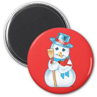 Winter Friends Adorable Snowman and Cardinal Fridge Magnet