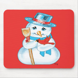 Winter Friends Adorable Snowman and Cardinal Mouse Pads