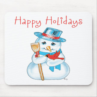 Winter Friends Adorable Snowman and Cardinal Mouse Pad