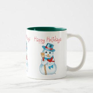 Winter Friends Adorable Snowman and Cardinal Coffee Mug