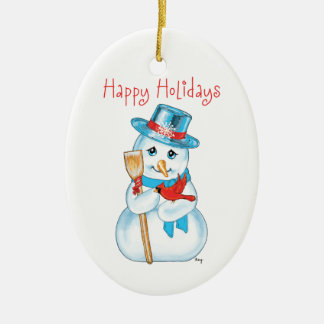 Winter Friends Adorable Snowman and Cardinal Christmas Tree Ornaments