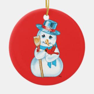 Winter Friends Adorable Snowman and Cardinal Ornament