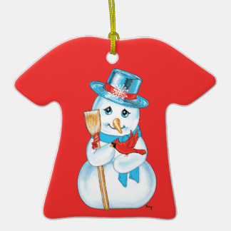 Winter Friends Adorable Snowman and Cardinal Christmas Ornament