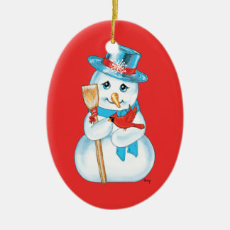 Winter Friends Adorable Snowman and Cardinal Christmas Ornaments