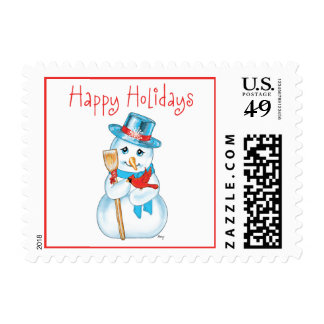 Winter Friends Adorable Snowman and Cardinal Postage
