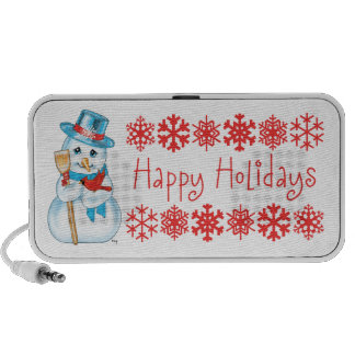 Winter Friends Adorable Snowman and Cardinal PC Speakers