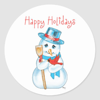 Winter Friends Adorable Snowman and Cardinal Round Stickers