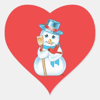 Winter Friends Adorable Snowman and Cardinal Sticker
