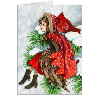 Winter Friends - Cardinal Bird Girl Greeting Card