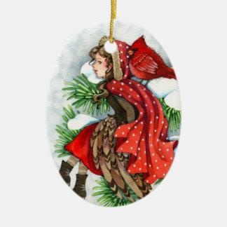 Winter Friends - Cardinal Bird Girl Ornament