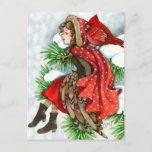 Winter Friends - Cardinal Bird Girl Postcards
