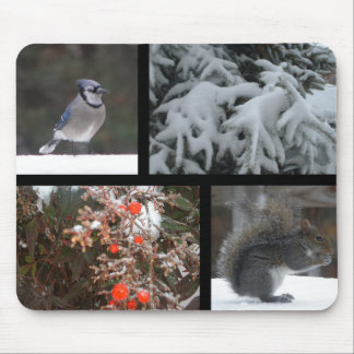 Winter Friends Collage Mousepad