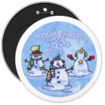 Winter Friends Snowmen 6 Inch Round Button