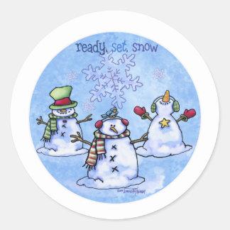 Winter Friends - Snowmen Classic Round Sticker