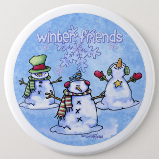 Winter Friends Snowmen Pinback Button