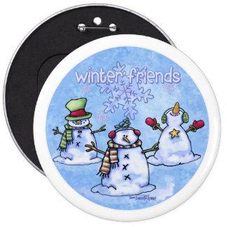 Winter Friends Snowmen Pinback Button