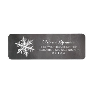 Winter Frost Snowflakes Chalkboard Return Address Label
