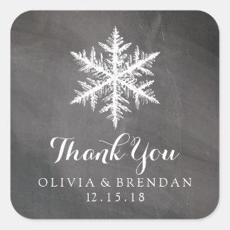 Winter Frost Snowflakes Chalkboard | Wedding Favor Square Sticker