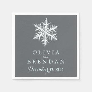 Winter Frost Snowflakes | Wedding Standard Cocktail Napkin
