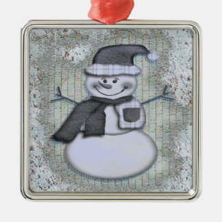 Winter Frost Snowman Square Metal Christmas Ornament