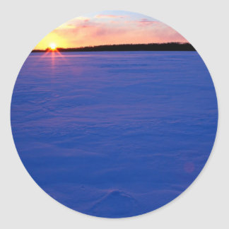 Winter Frozen Moose Lake At Sunset Minnesota Classic Round Sticker