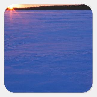 Winter Frozen Moose Lake At Sunset Minnesota Square Sticker