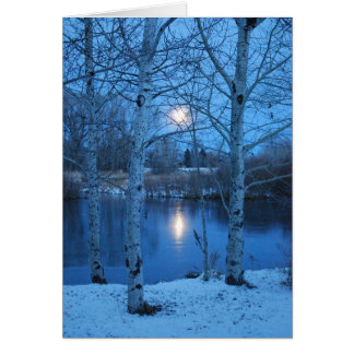Winter Full Moon on the Pond Greeting Card