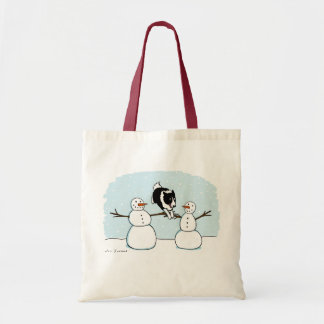Winter Fun Border Collie Holiday Tote Bag