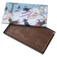 Winter Fun Christmas Skiing Labradors Painting Milk Chocolate Bar