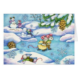 Winter Fun - cute mouse art card