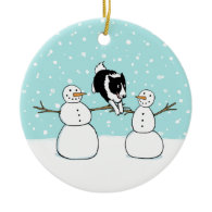 Winter Fun Holiday Border Collie Dog with Snowmen Ornaments