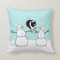 Winter Fun Holiday Border Collie Dog with Snowmen Throw Pillow
