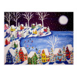Winter Fun Ice Skaters Houses Post Card