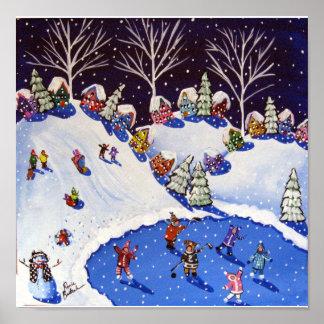 Winter Fun Ice Skaters Kids Sled Folk Art Poster