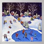 Winter Fun Ice Skaters Kids Sled Folk Art Print