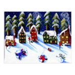 Winter Fun Making Snow Angels Folk Art Postcard