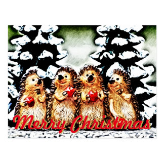 Winter Fun Porcupines Christmas Postcard