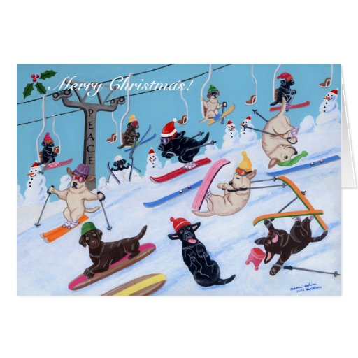 Winter Fun Skiing Labrador Christmas Cards