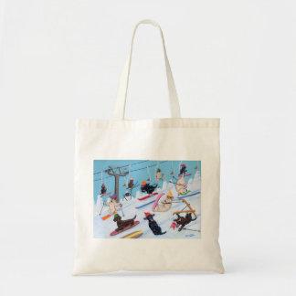 Winter Fun Skiing Labradors Tote Bags