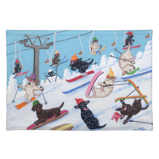 Winter Fun Skiing Labradors Cloth Placemat