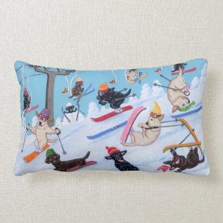 Winter Fun Skiing Labradors Lumbar Pillow