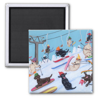 Winter Fun Skiing Labradors Magnet