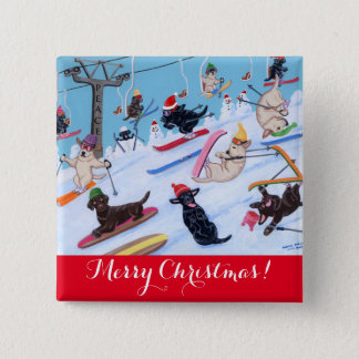 Winter Fun Skiing Labradors Painting Button