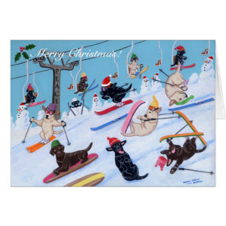 Winter Fun Skiing Labradors Painting Cards