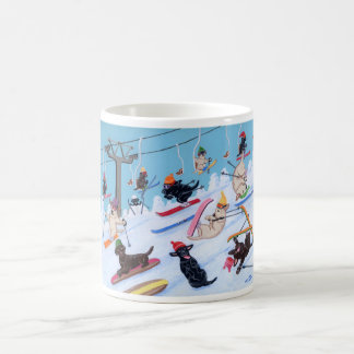 Winter Fun Skiing Labradors Painting Coffee Mug