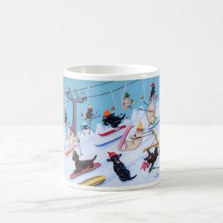 Winter Fun Skiing Labradors Painting Coffee Mug