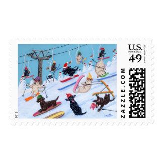 Winter Fun Skiing Labradors Painting Postage Stamps
