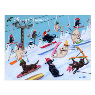 Winter Fun Skiing Labradors Painting Postcard