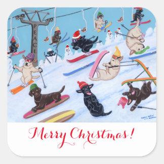 Winter Fun Skiing Labradors Painting Square Sticker