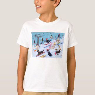 Winter Fun Skiing Labradors Painting T-Shirt